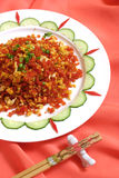 Fries the egg with Vegetables on red. Materials; fries the egg dishes are very tasty traditional Chinese New Year dishes.one of the most famous chinese dish stock photo