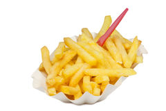 Fries with fork Royalty Free Stock Photography