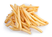 Fries french potatoes handful closeup Stock Images