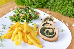 Fries and ham rolls with spinach filling Royalty Free Stock Image