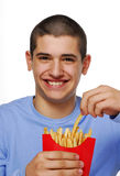 Fries kid Royalty Free Stock Photos