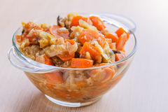 Fries with meat, cabbage and carrots Royalty Free Stock Images