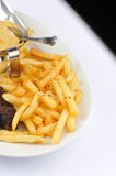 Fries with meat garniture Stock Image