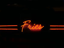 Fries neon sigh Royalty Free Stock Photos