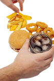 Fries,onion rings ,burger and drink Royalty Free Stock Photos