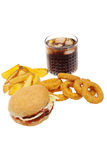 Fries,onion rings ,burger and drink Stock Image