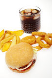 Fries,onion rings ,burger and drink Stock Images