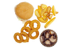 Fries,onion rings ,burger and drink with sauces Stock Photo