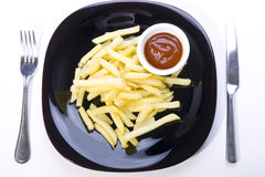 Fries with the sauce on the plate Stock Photo
