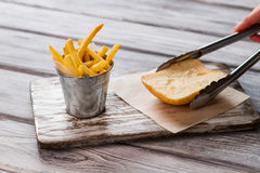 Fries in small bucket. Stock Photos