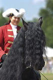Friesen horse. MUNICH, GERMANY - JUNE 4:  portrait of Friesen horse with styled long mane and baroque rider while a public show at international equestrian Stock Image