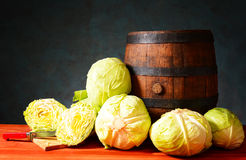 Friesh cabbage and a wooden barrel Royalty Free Stock Photo