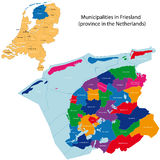 Friesland - province of the Netherlands. Administrative division of the Netherlands. Map of Friesland with municipalities Stock Photography