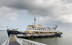 The Friesland ship (1956) at Medemblik wharf. North Holland stock photography