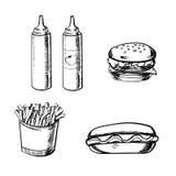 Frieten, hamburger, hotdog en specerij Stock Afbeelding