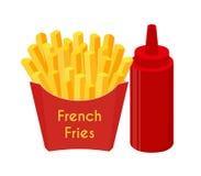 Frieten, ketchup, gebraden aardappel Beeldverhaal vlakke stijl Vector illustratie Royalty-vrije Stock Foto's