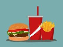 Frieten, soda meeneem op achtergrond Snel voedsel Vlak Ontwerp Royalty-vrije Stock Fotografie