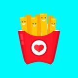 Frietendocument vakje, geïsoleerde vector vlakke ontwerpillustratie Glimlachend frietenkarakter Stock Afbeelding