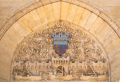 Frieze. Bas-relief of the door of the council of Narbonne stock photos