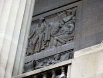 Detail of architecture: National Archives, Washington DC. Frieze and column on the National Archives Research Center on Constitution Avenue in the National Mall royalty free stock photo