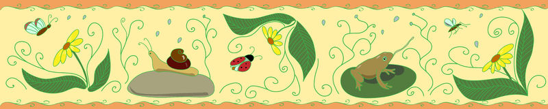 Frieze with insects on yellow  background Royalty Free Stock Photo