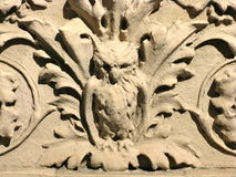 Frieze of an owl. A frieze of an owl on the side of a very old Upper East Side apartment building in New York City Royalty Free Stock Images
