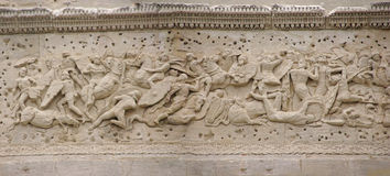 Frieze sculpture of Roman battle against the Gauls Stock Photography