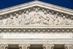 Frieze at the Supreme Court. Frieze on top of Supreme Court house in Washington D, C, America stock photos