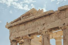 Friezes of the Parthenon on the Acropolis, Athens, Greece stock photo