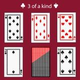 Frigör av en kinq som spelar kortpokerkombination Illustration EPS 10 på röd bakgrund Att att använda för design registrering, th royaltyfri illustrationer