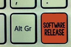 Frigörare för programvara för ordhandstiltext Affärsidé för summa av etapper av utveckling och mognad för program arkivfoton