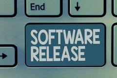 Frigörare för programvara för ordhandstiltext Affärsidé för summa av etapper av utveckling och mognad för program arkivfoto