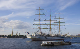 Frigate anchored in Neva river, St. Persburg. Royalty Free Stock Images