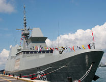 A frigate at berth Royalty Free Stock Images