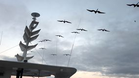 Frigate birds soar next to boat radar mast