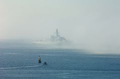 Frigate in the Fog in Plymouth Sound Stock Photography