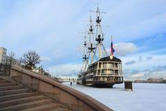 Frigate `Grace`. The Neva River. St-Petersburg. Royalty Free Stock Photos