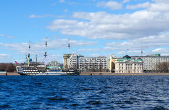 Frigate Grace ship-restaurant and former palace of Grand Duke Nicholas, St. Petersburg, Russia Stock Image