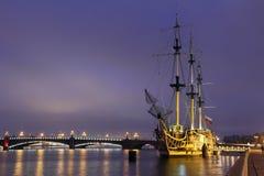 Frigate Grace . The Neva River. St.-Petersburg. Stock Images