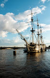 Frigate on the Neva river. In St.Petersburg. Ship on the river Royalty Free Stock Image