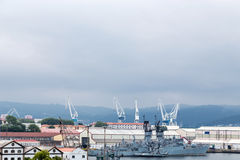 Frigate in the port of Ferrol, Galicia, Spain Royalty Free Stock Photo