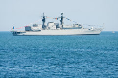 Frigate Regele Ferdinand at Romanian Navy parade Royalty Free Stock Photo