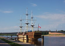 Frigate on the river in city Great Novgorod Stock Images