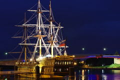 Frigate on the river in city Great Novgorod Stock Photography