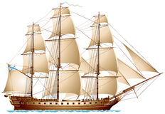 Frigate sailing warship Royalty Free Stock Photography