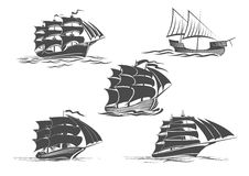 Frigate ship sailing vessel vector isolated icons Stock Photography