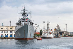 Frigate Smely of Bulgarian Navy stands moored Stock Photos