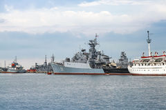 Frigate Smely of Bulgarian Navy stands in Varna Stock Image