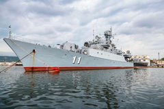 Frigate Smely of Bulgarian Navy stands in Varna Royalty Free Stock Images