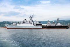 Frigate Smely of Bulgarian Navy in Varna naval base Stock Photo